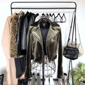 Olive Green Velvet Cropped Moto Jacket